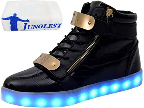 [Présents:petite serviette]JUNGLEST® - 7 Couleur Mode Unisexe Homme Femme USB Charge Lumière Lumineux Clignotants Chaussures de marche LED Ch Noir