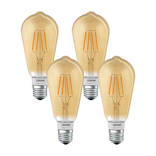 OSRAM SMART+ LED Filament Edison Gold Bluetooth Lampe mit E27 Sockel, dimmbar, ersetzt 50W Glühbirne, warmweiß, 4er Pack (E27 Lampe Led Bluetooth)