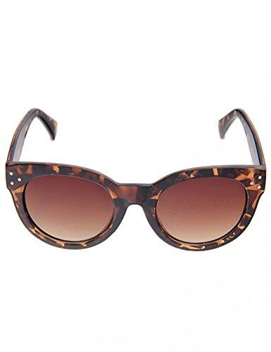 Leslii Sonnenbrille Havana Cateye Horn-Look Katzenaugen Damen Designerbrille Sunglasses Braun Ø Glas inkl. Brillenrand 5,5cm