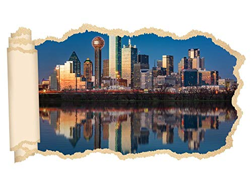 3D Wandtattoo Dallas Skyline USA Stadt Trinity River Tapete Wand Aufkleber Wanddurchbruch sticker selbstklebend Wandbild Wandsticker Wohnzimmer 11P665, Wandbild Größe F:ca. 140cmx82cm