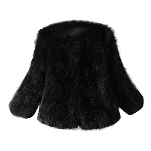 Xinan Mantel Damen Warm Faux Pelz Fox Jacke Parka Outerwear (M, Schwarz)