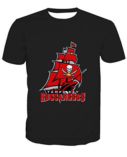 Männer 3D T-Shirt Tampa Bay Buccaneers NFL Fußball Team Uniform Piratenschiff Muster Digitaldruck Liebhaber Shirt(XXXL,Schwarz) - Bay Herren Shirt
