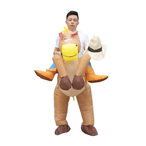 BELUPAI Halloween-Kostüm, aufblasbarer Tier-Jumpsuit Kostüm Erwachsene Cosplay Fasching Ritter Pony Kleidung Karneval Requisiten Weihnachten Spielzeug (63-86 - Pony Play Kostüm