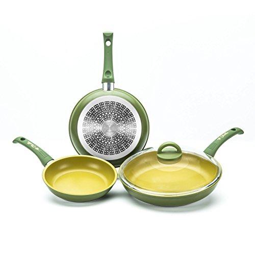 'olivilla Illa aluminio 4piezas Pan Set 3Sartenes 1tapa de cristal inducción
