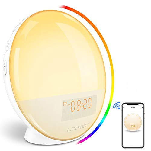 Luce Sveglia Alba WiFi LOFTer Wake Up Light LED Intelligente Lampada da Comodino Radiosveglia Digitale Compatibile con Alexa Echo e Google Home con Doppia Sveglia, Radio FM, 7 Colori Dimmerabili