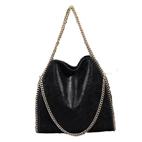 Damen PU lässigen Angleliu Kette Handtasche Modisch Schultertaschen Glitzer Beuteltasche (Goldene Kette schwarz)