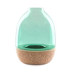 Pitaro Glas und Kork Vase, türkis Glas