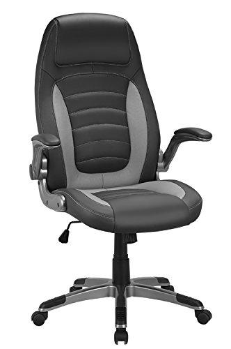 Bürostuhl, Ergonomischer Schreibtischstuhl, Gaming stuhl, PU Bürodrehstuhl mit Hoher Rückenlehne und gepolsterten Armlehnen, 360°verstellbarer Chefsessel, Höhenverstellung und Wippfunktion für Büroarbeit (Hellgrau)