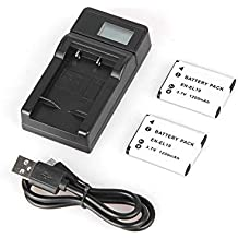 KNOSSOS 2 Pcs EN-EL19 3.7V 1200mAh Rechargeable Batteries + LCD USB Battery Charger