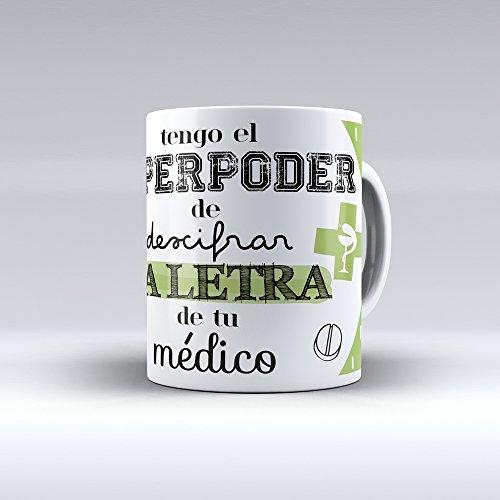 APRIL Taza cerámica Desayuno Regalo Original profesión farmacéutico, farmacéutica Tengo el Superpoder de descifrar la Letra de tu médico