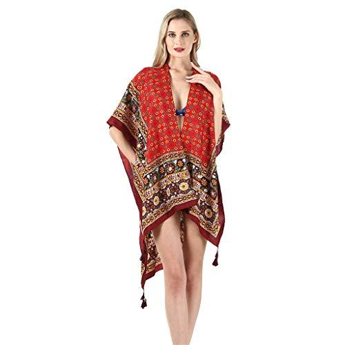 QIMANZI Strand Handtuch Damen Twill Baumwolle Sommer Badebekleidung Kimono Strickjacke Beiläufig Lose Öffnen Schal(B)