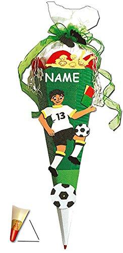 BASTELSET Schultüte - Fußball 85 cm - incl. Namen - mit Holzspitze - Zuckertüte Roth - ALLE Größen - 6 eckig Fußballer Fussball Sport Jungen