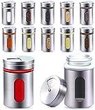 STARLINE® - Set di 12barattolini spargispezie in acciaio inossidabile, con parte trasparente, contenitori da 80ml, dispenser per spezie argento