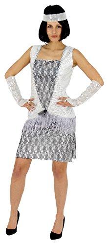 Foxxeo Silbernes 20er Jahre Kostüm für Damen Charleston Kleider Karneval Fasching Motto-Party Größe XL