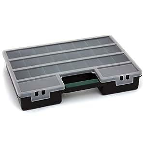 Sortimentskasten Organizer Kunststoff schwarz 460x325x80 Klarsichtdeckel 26 Fächer