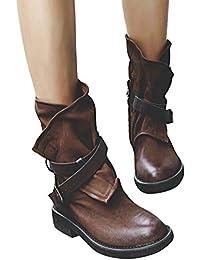 Minetom Stivali Donna Scarpe Autunno Inverno retrò Pelle Casual Ankle Boots  Stivaletti Tacchi Bassi Stivali da. c47fdbed9e0