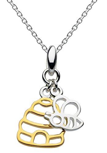 Dew 9466GD Halskette Sterling-Silber, Anhängermotive Biene und Bienenstock aus Sterling-Silber/vergoldet, 45,7cm lang