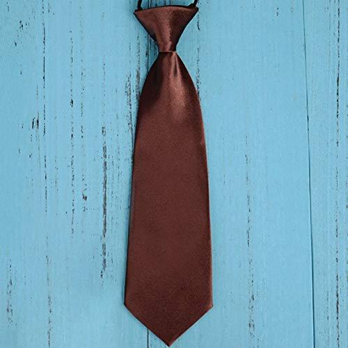 Mode Schule Jungen Kinder Kinder Baby Hochzeit Einfarbig Elastische Krawatte Junge Krawatte Baby Hochzeit Krawatte Krawatte Fleck - Kaffee