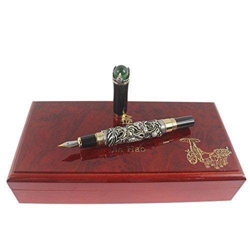 Zoohot Jinhao Pluma estilográfica Lujo chino de oro ming dinastía estilo emperador Jugar al dragón jade bola (plata)