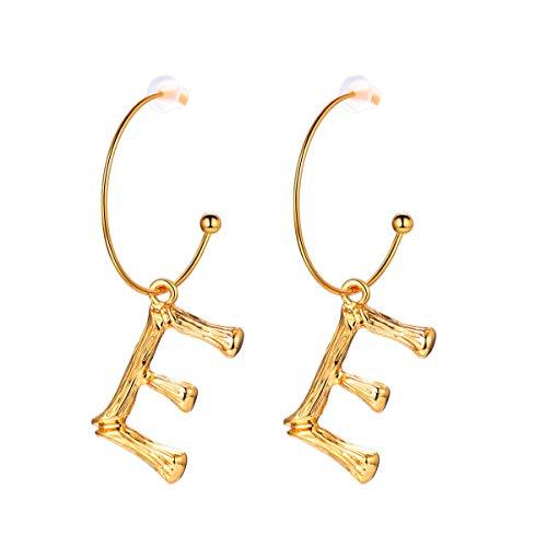 Focalook orecchini pendenti da donna ragazza cindolo lettera iniziale bambù a-z nome alfabeto, gioielli alla moda, con confezione, regalo san valentino, oro