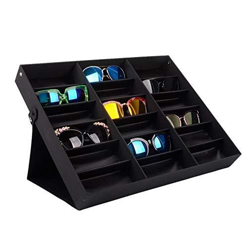YUSDP Aufbewahrungsboxen für Sonnenbrillen, Brillenvitrine, schwarzes Nylongewebe - 18 Fächer, Organizer mit hoher Kapazität - Metallknopf, Sicherheitsdesign - für Frauen, Männer