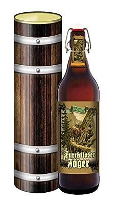 Jäger Bier 1 Liter Flasche mit Bügelverschluss in der Geschenkdose im Holzdesign