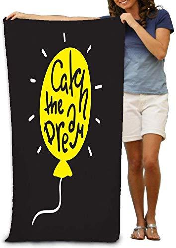 HJEMD Toalla de baño Bath Towel Soft Big Beach Towel 31'x 51' Catch Dream Simple Motivational Quote Hand Drawn Beautiful Lettering Print Inspirational Poster Bag Catch