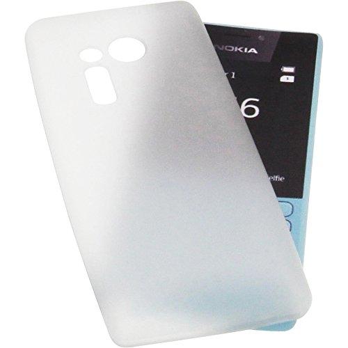 Tasche für Nokia 216 Gummi TPU Schutz Handytasche transparent weiß