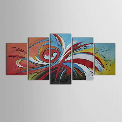IPLST@ moderna astratta pittura ad olio su tela 5 pannelli - Tela da parete grande per decorare casa, senza cornice (senza telaio)