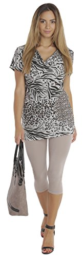 BeLady Damen Leggings 3/4 Capri aus Baumwolle Blickdichte Leggins Viele Farben (Beige, L - 40)