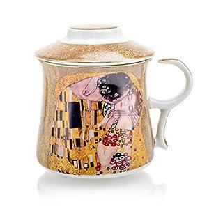 Gustav Klimt Art 'The Kiss' Porcelain Tea Mug with Infuser and Lid