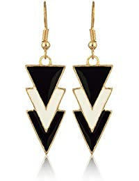 Sanak Creations Valentine Black And White Gold Plated Earrings Daily / Party Wear For Girls & Women