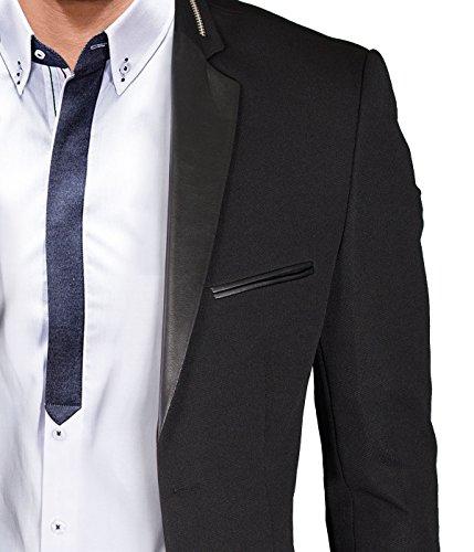 BetterStylz Ricoberto Zip Homme un Bouton Veston Blazer Veste de Coustume Slim Fit Taille ajustée Homme diverse couleurs 48 - 58 Noir