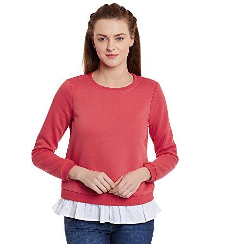 Femella Fashion's Red Ruffle Hem Sweatshirt