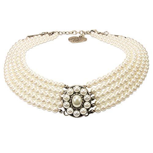Alpenflüstern Trachten-Perlen-Kropfkette Elisa Trachtenkette, eleganter Damen-Trachtenschmuck, Dirndlkette Creme-weiß (Trachten Schmuck Perle Halskette)