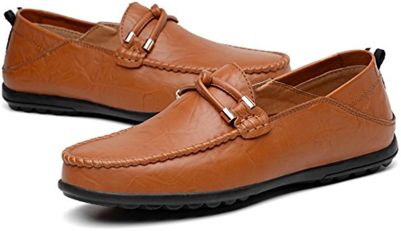 Slip de Color Sólido de Cuero del Talón Plano de los Hombres en los Zapatos de Ocio  -