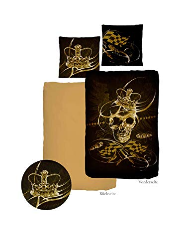 Black Lion Mako-Satin-Bettwäsche KingSkull | Markenware by ido | 100% Baumwolle, Bettwäsche-Set 155 x 220 cm | King Skull (155 x 220 cm) - Bettbezug Lion