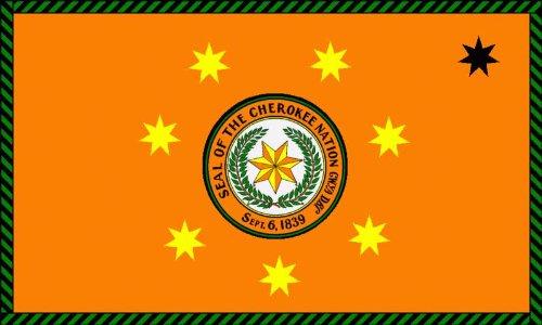 8,4 x 5,4 cm Autoaufkleber Fahne der Cherokee First Nation der USA Indianer Ureinwohner Sticker Aufkleber Fürs Auto Motorrad Handy Laptop Indianer Motorrad