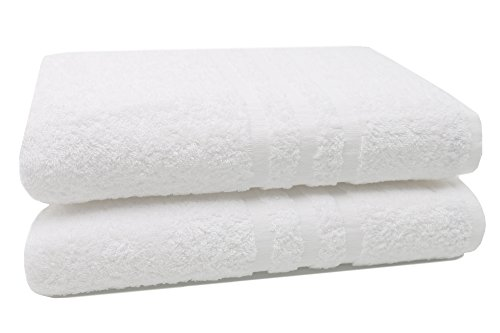 """Zollner® 2 pezzi asciugamani da bagno / teli doccia grandi, in morbida e voluminosa spugna 100x150 cm bianco, 100% cotone, direttamente dallo specialista per alberghi, serie """"amalfi"""""""