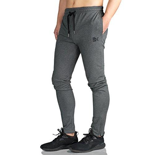 best service 566cb 129f3 Broki Uomo Zip Jogger Pantaloni Cavallo Harem Jogging Basso Sportivi Cotone  Slim Fit Pantalone Leggero Marina