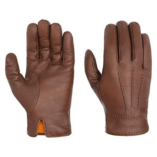 Stetson Soft Nappa Lederhandschuhe Herren   Fingerhandschuhe mit Futter aus Baumwolle   Handschuhe aus Leder (Ziege) Herbst/Winter   Herrenhandschuhe braun 10 HS