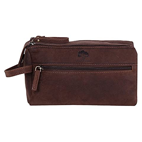 Handmade Traditional Genuine Leather Travel Toiletry Wash Bag Bathroom bag Dopp Kit for Makeup Cosmetics for Men and Women with Vintage and Antique look A Gift from Indian