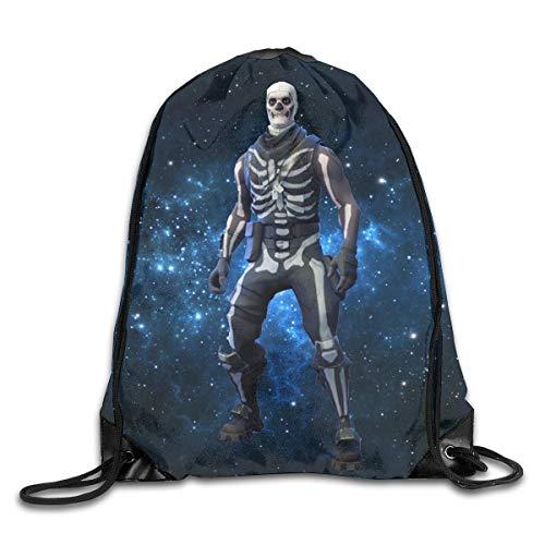 Foldable Large Capacity Fornite Skull Trooper Gym Drawstring Rucksack Cinch Sack ()