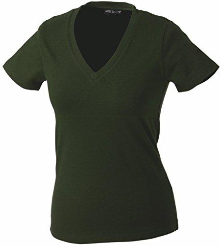Damen V-Neck T-Shirt Olive