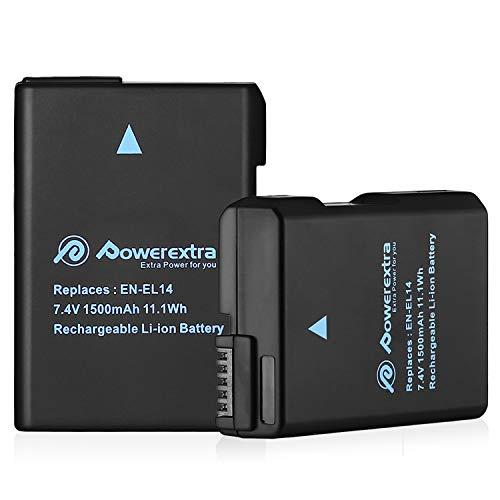 Powerextra Lot de 2 Batteries Nikon EN-EL14 1500mAH pour EN-EL14a et Nikon D3100 D3200 D3300 D3400 D5100 D5200 D5300 D5500 DF Coolpix P7000 P7100 P7700 P7800 DSLR Cameras