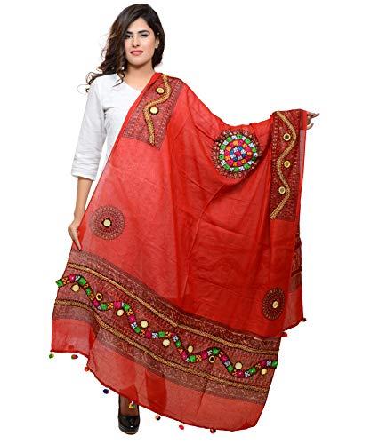 Banjara Women'S Cotton Stoles & Dupattas Kutchi Mirrorwork (Kch03 _Blood Red _Handicraft Dupatta_Free Size)