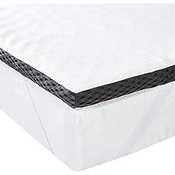 AmazonBasics Sur-matelas en mousse visco-élastique confortable avec sangles, 4cm - 90 x 190 cm