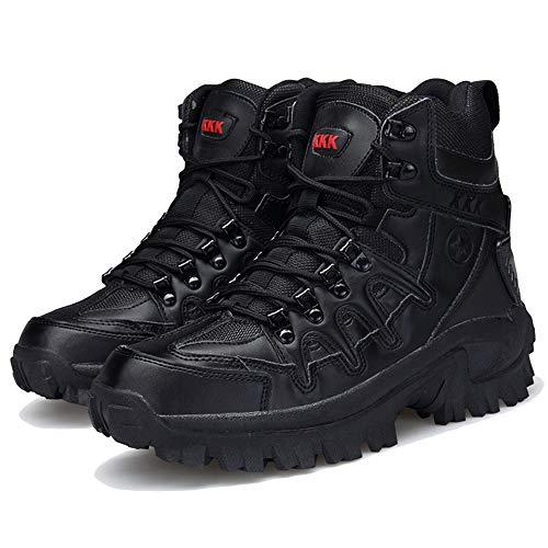 Herren Kampfstiefel Seitlicher Reißverschluss Leder Militär Trekking- und Wanderschuhe Cadet Security High-Top-Schuh Patrol All Terrain Boots,Black-43 -