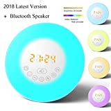 (Última versión 2018) Reloj despertador Amanecer, Altavoz Bluetooth Luz de Despertar, Despertador con 6 sonidos de la naturaleza, Radio FM, Luz Nocturna de 7 Colores, Control táctil, Snooze