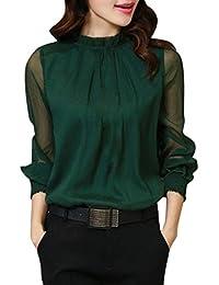Toamen Mujeres Chiffon Elegante Suelta Volantes Manga Larga Blusa Camiseta Casual Tops